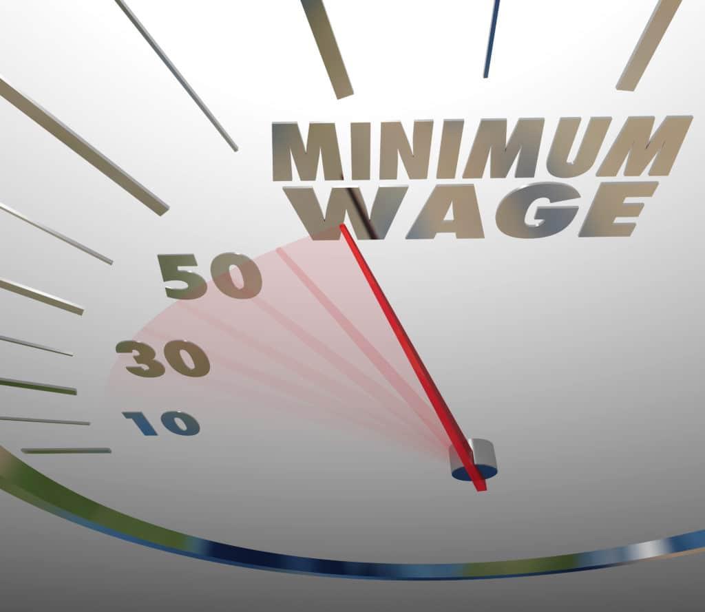 graphic representing minimum wage on a speedometer